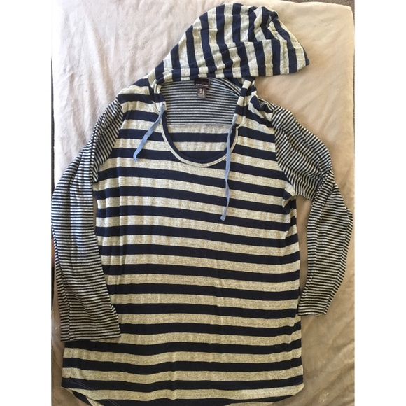 Oh Baby by Motherhood Tops - Cozy Maternity Striped Hooded Tunic